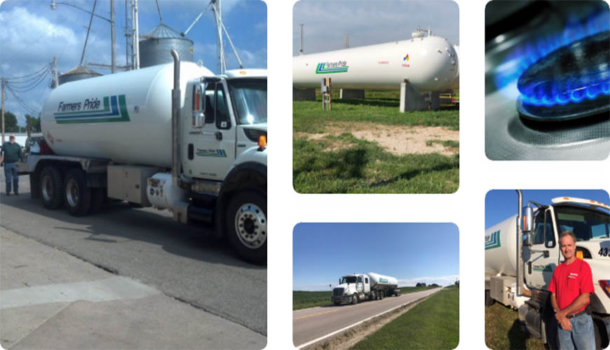 Farmers Pride Propane tanks and trucks in several locations
