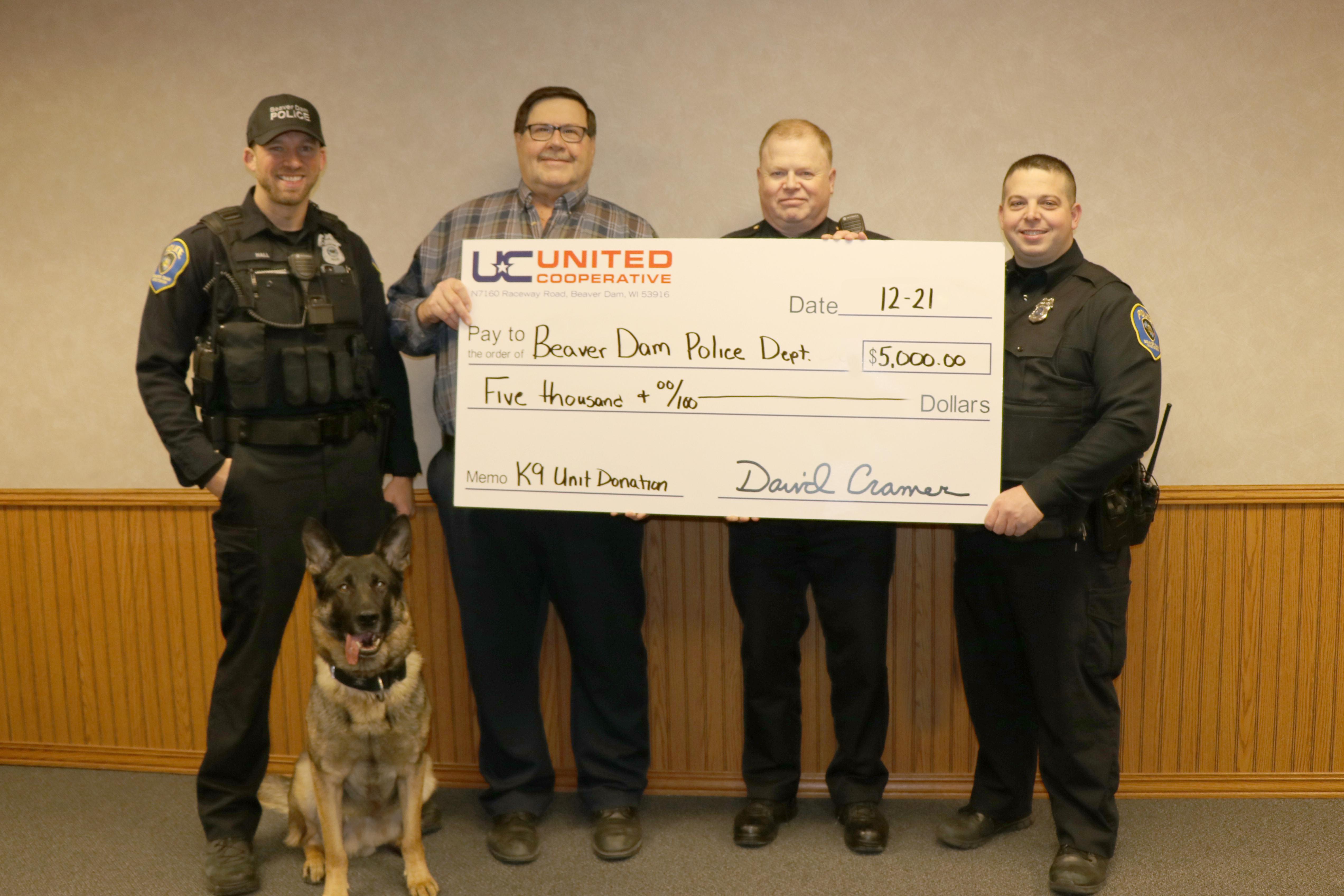 Beaver Dam K9 donation